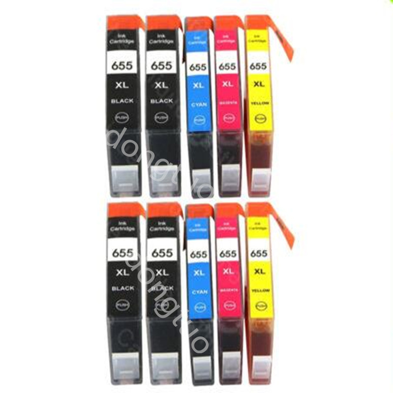 10PCS compatible for 655XL ink cartridge 655 for Deskjet 3525 4615 4625 5525 6520 6525 printer with chip 4 color for hp685 empty refillable cartridge with chip show ink level for hp deskjet ink advantage 3525 4615 4625 5525 6525