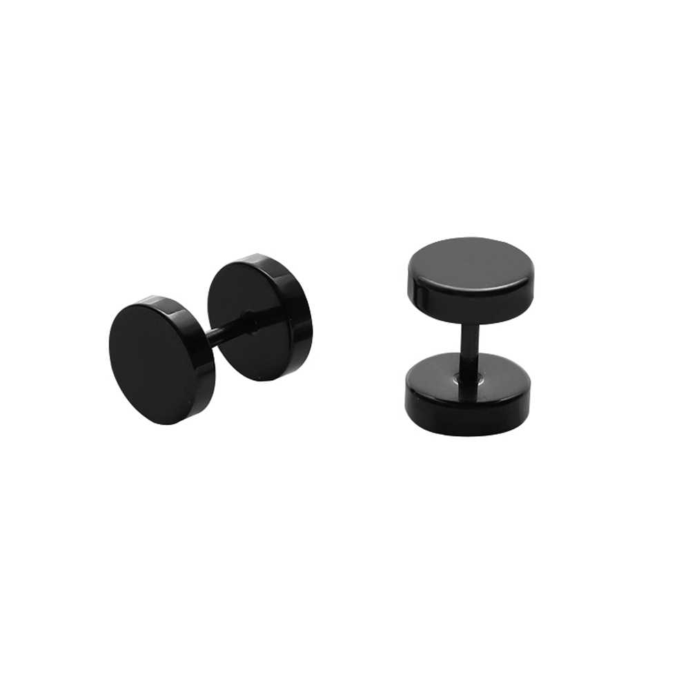 Gothic Barbell Black Stainless Steel Fake Ear Plugs Punk Body Earrings Jewelry Pierceing Earring For Men Fashion Free Shipping