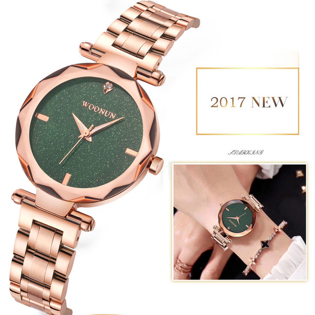 2018 New Womens Watches Rose gold Watch Women Stainless Steel Quartz Bracelet Wa