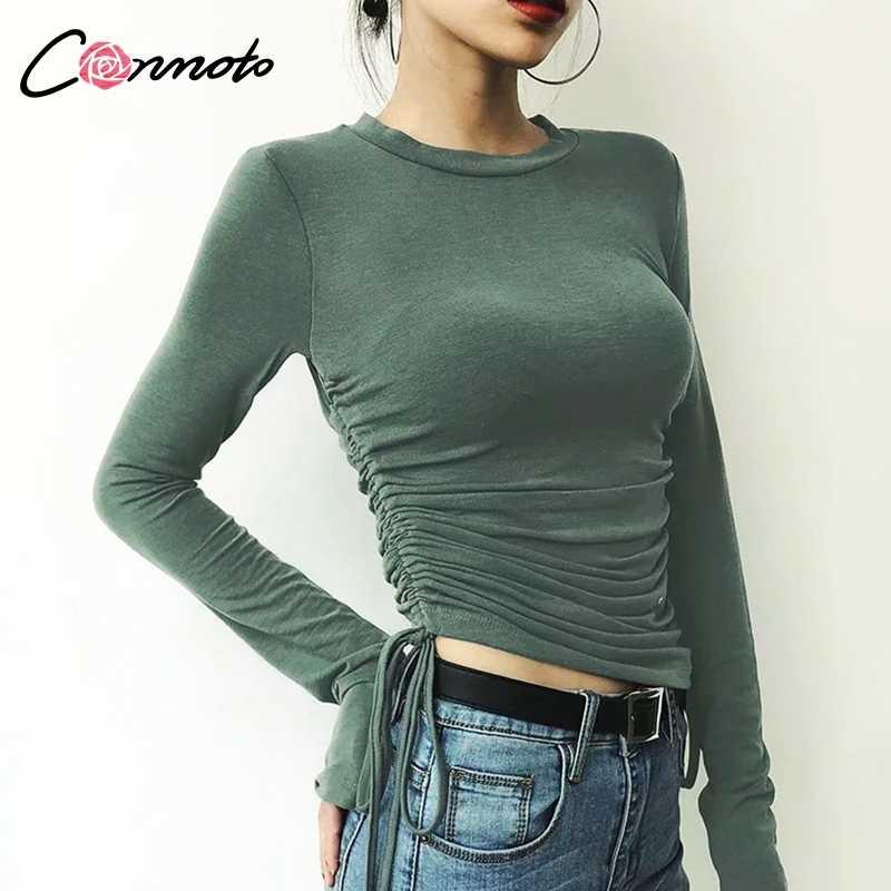 Conmoto תחרה עד נשים חולצה חולצה חולצות בסיסי מזדמן חולצות חולצות דק מוצק Feminino חורף Blusa Mujer 8 צבעים