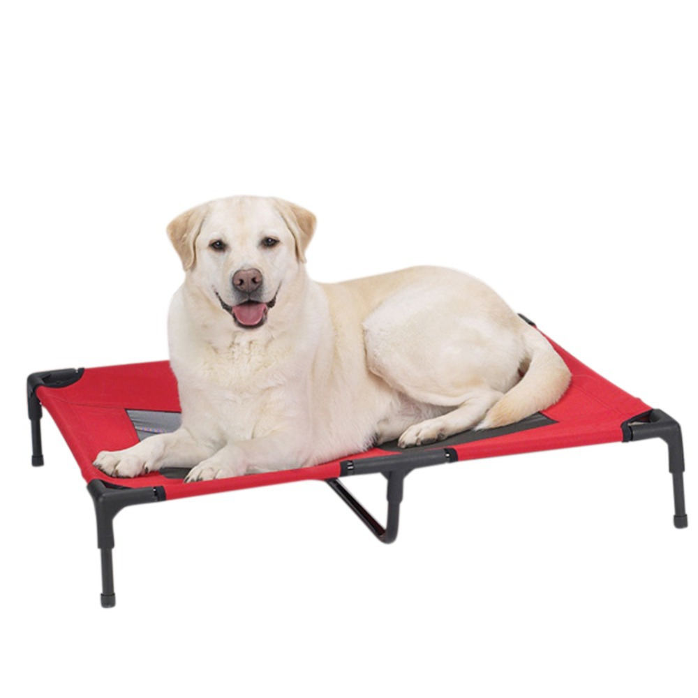 Summer Portable Travel Dogu0027s Pet Camping Elevated Steel Framed Mesh Bed Cot  With Knitted Fabric ...