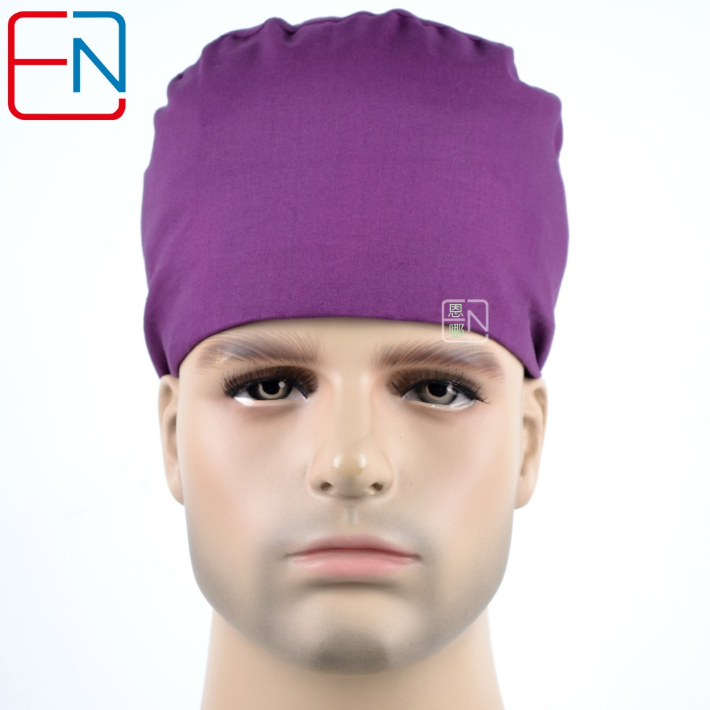 Hennar Surgical Scrub Caps New Adjustable Surgical Caps Purple Print With Sweatband Cotton Pet Doctor Clinic Medical Caps Unisex
