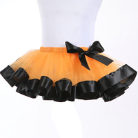 Girls Rainbow Tutu Dance Layered Skirt Rave Halloween Party Ballet Princess Dress Orange