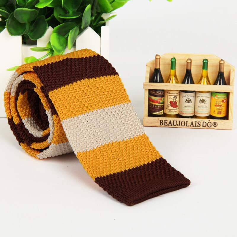 (1 Pieces / Lot) 100% Polyester New Year 2015 Orange White And Brown Knitted Tie Yellow Tie Men's And Women Necktie Skinny