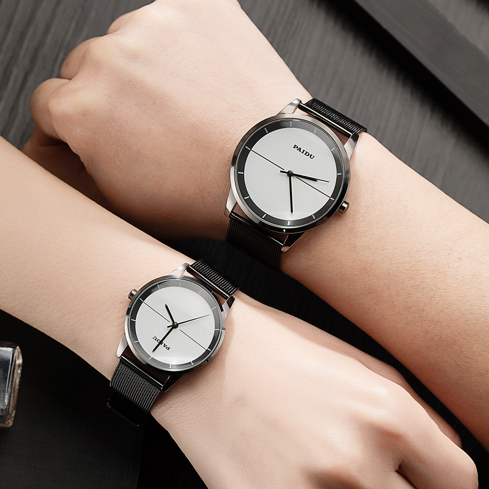 Lovers' Quartz Watches Paidu Brand Stainless Steel Band Men/women Fashion Wrist Watches Waterproof Case Japan Movement Watch Hot
