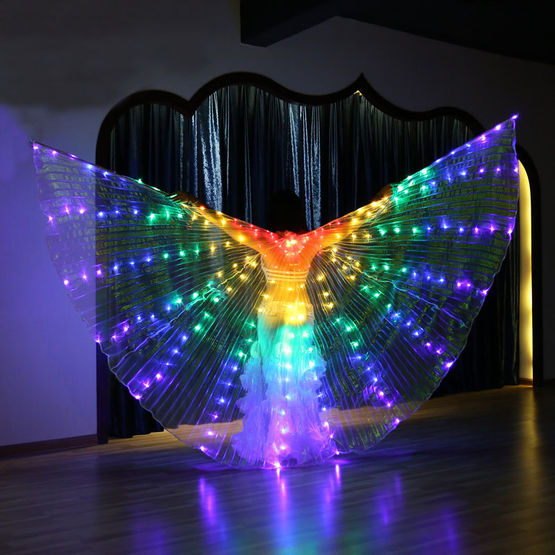 Large Belly Dance LED Isis Angel Wings Butterfly Dancer Fairy Costumes for Women Glowing Oriental Bellydance