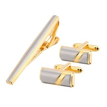 Cufflinks and Tie Clips Mens Set Gold Cufflink Pin for Men Cuff Links Speech High-grade Anchor Official Occasions Bar QiQiWu