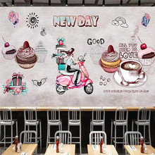 Custom wallpaper hand-painted retro fashion dessert house cake shop background wall painting advanced waterproof material