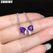ZHHIRY Women Real Natural Purple Amethyst Silver Necklace Pendant Genuine Solid 925 Sterling Silver Fine Jewelry kjjeaxcmy fine jewelry 925 sterling silver plated white gold ring pendant deep amethyst necklace set ladies two piece suit