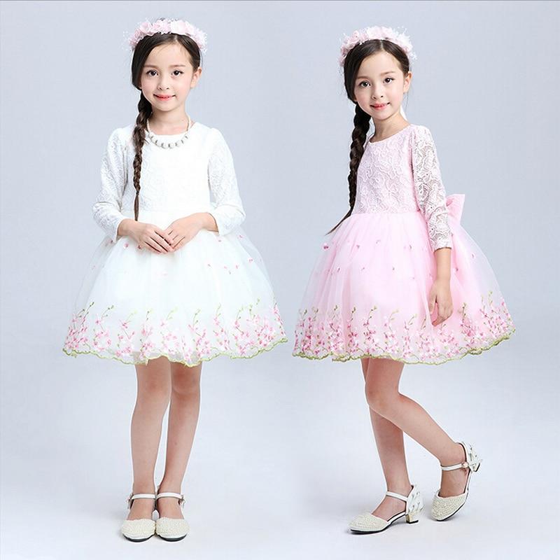 Teenage Girls Clothes White Pink Tutu Dress Long Sleeve Easter Dresses For Girls 10 Years  Lace Toddler Kids Princess Dresses цены онлайн