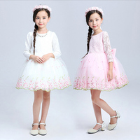 Teenage Girls Clothes White Pink Tutu Dress Long Sleeve Easter Dresses For Girls 10 Years Lace