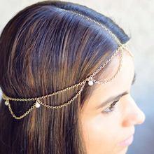 Индийские украшения для волос Женская цепочка с волнистой головкой