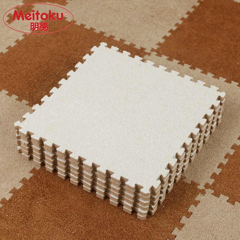 Meitoku Yumuşak EVA Köpük kısa kürk bulmaca bebek oyun matı, 9 adet kilitli kat mat; egzersiz matı, oturma odası, 9 adet/grup Her 32X32 cm