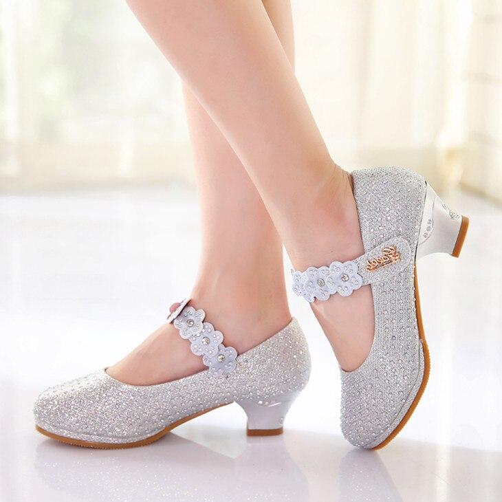 cristal de diamante sapatos de danca de flores meninas sandalias infantis de alta salto alto sapatos