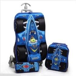 3 pçs/set 3D estéreo LEGAL carros trole EVA crianças mala De Viagem menino bagagem Estudante caixa de lápis dos desenhos animados crianças mochila