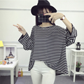 Kesebi 2017 Spring Summer Women Plus Size Stripe Long Sleeve Students T-shirts Female O-neck Batwing Sleeve Tops SJ1FA37#9017