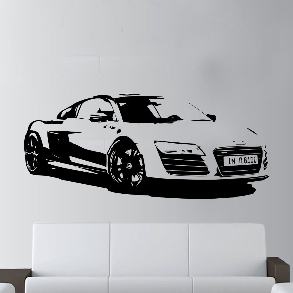 57x130cm Fashion Large Car Audi R8 Coupe Sports Wall Art Decal Home Decor Racing Car Wall paper Art Vinyl Art Mural KW-331