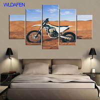 5 Panel Men Motor Desert Motorcycle HD Print Modern Painting House Canvas Decor On Canvas Art