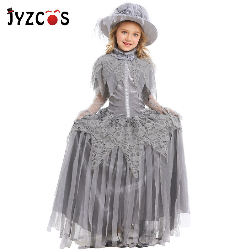 JYZCOS Demon Princess Costume Halloween Costumes for Kids Girls Ghost Bride Cosplay Costume Party Fancy Dress Carnival Costume
