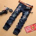 Nova marca dos homens Europeus e Americanos jeans stretch buraco, azul escuro de alta qualidade casuais calças de brim dos homens denim balmai, jean rasgado