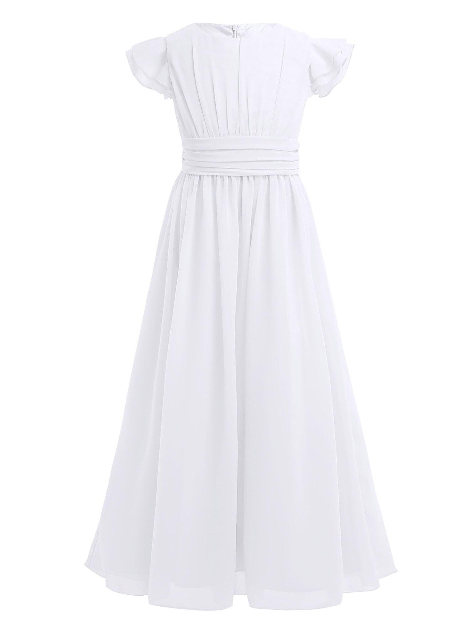 Image 5 - Girls Chiffon Flutter Sleeves Flower Girl Dress Pleated High waisted Princess Pageant Birthday Wedding Party Long Dress SZ 4 14Flower Girl Dresses   -
