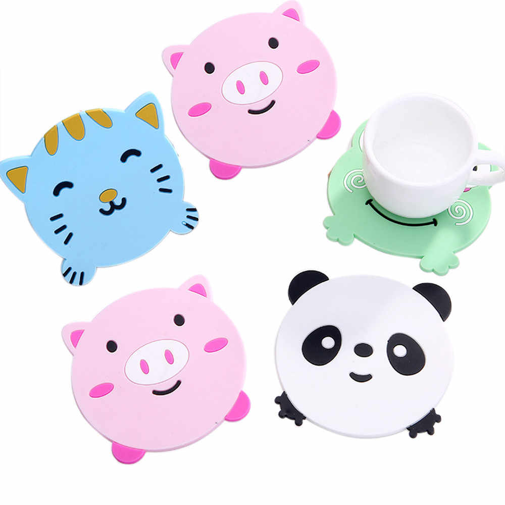 1PC Animal Pattern Silicone Cup Drinks Holder Mat Tableware Placemat Heat Resistant Coaster Pig/Kitty/Panda/ Frog Design Sale Y