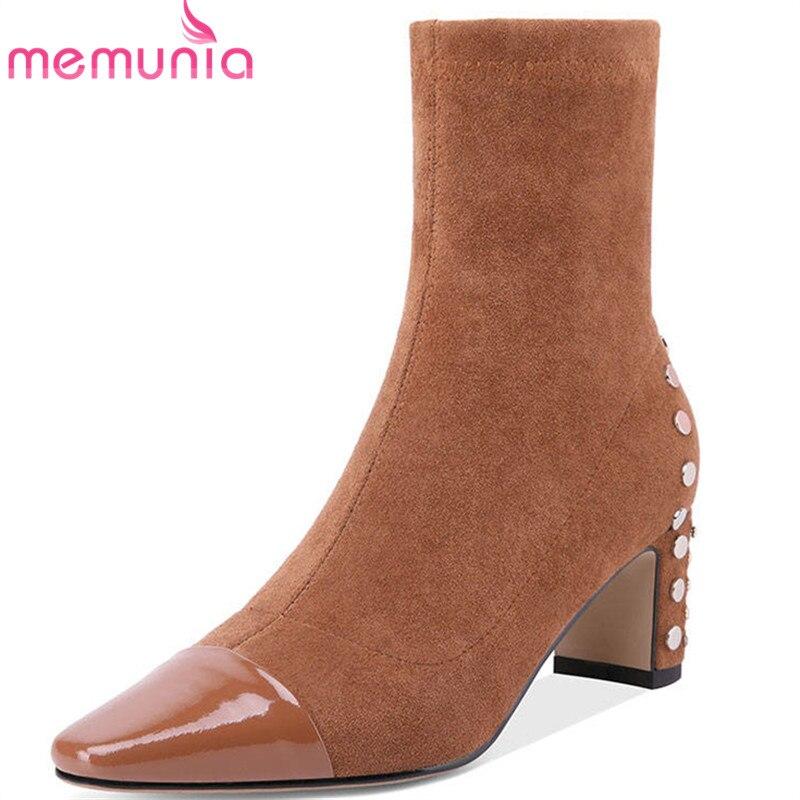 Noir Chaussures Cuir Qualité Memunia 2018 Color Véritable Bout En Mode caramel Top Cheville Bottes Zipper Pour Femmes Carré Automne Rivet wO8Pn0Xk