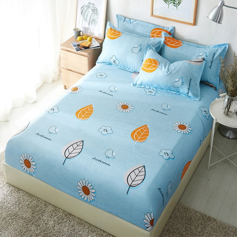 1pcs Polyester Blue Purple Sky Printed Kids Bed Sheet Bedding Fitted Sheets Mattress Cover Bedspreads With