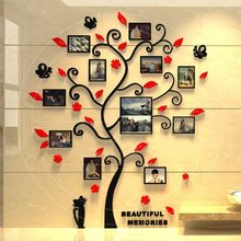 3D Acrylic Photo Frame Tree Wall Sticker Living Room Bedroom Wall Decals Poster DIY Family Home Decoration Wallpaper(China)