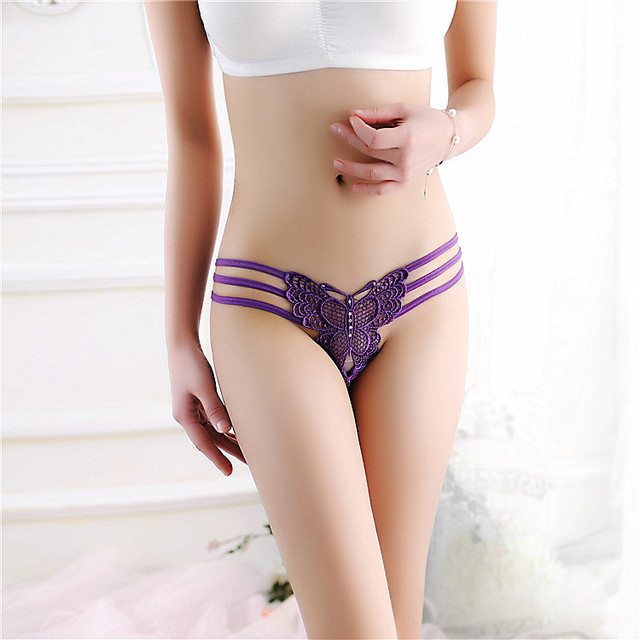 luckymily Underwear Women Thongs And G Strings Tangas Women Sexy Lace butterfly Bandage Thong Panties of Womens Underwear