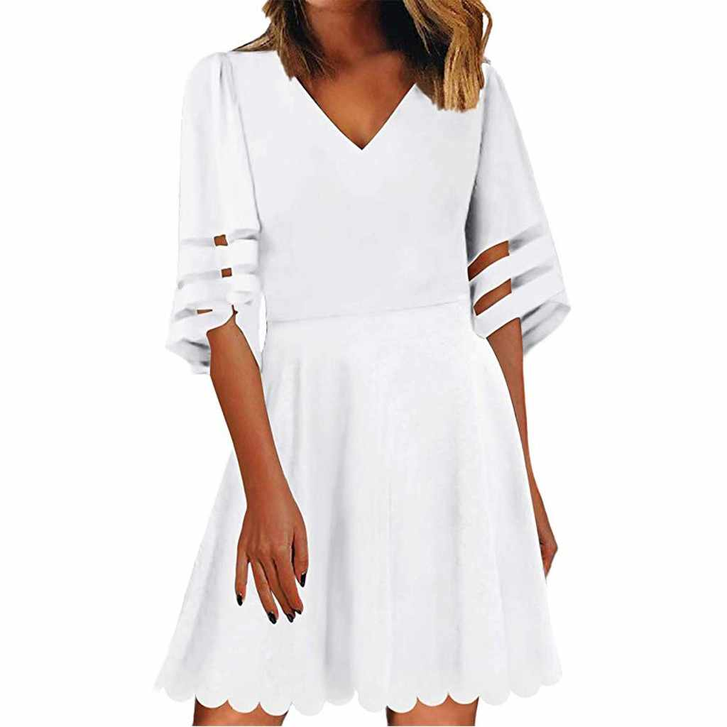 2019 Sexy vrouwen Mode Vrouwen Off Shoulder Mesh Panel dress3/4 Bell Mouwen Party Gift Lente Zomer