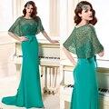 Mais recente Projeto 2016 Elegante Verde do Assoalho-Comprimento Mãe Dos Vestidos de Noiva Com Jaqueta Ruiva Mangas Para Casamentos
