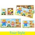Четыре Маленьких Медведь Семьи Магнитная Головоломка DIY Головоломки Деревянные Игрушки Забавные Игрушки Образования для Детей Подарок На День Рождения