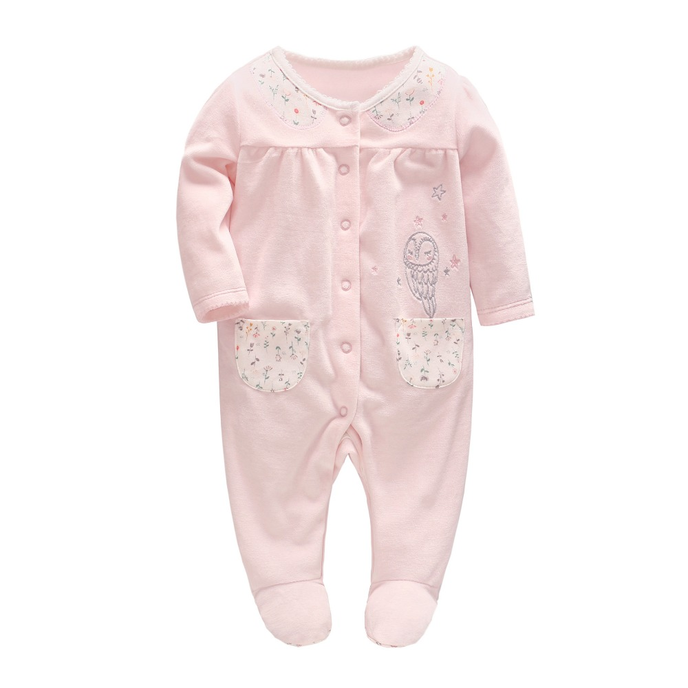 High Quality Autumn Baby Girl Clothes Newborn Baby Velvet Owl Embroidery Pink Rompers Toddler Girl Onesie for 0-24M 6 24m baby autumn