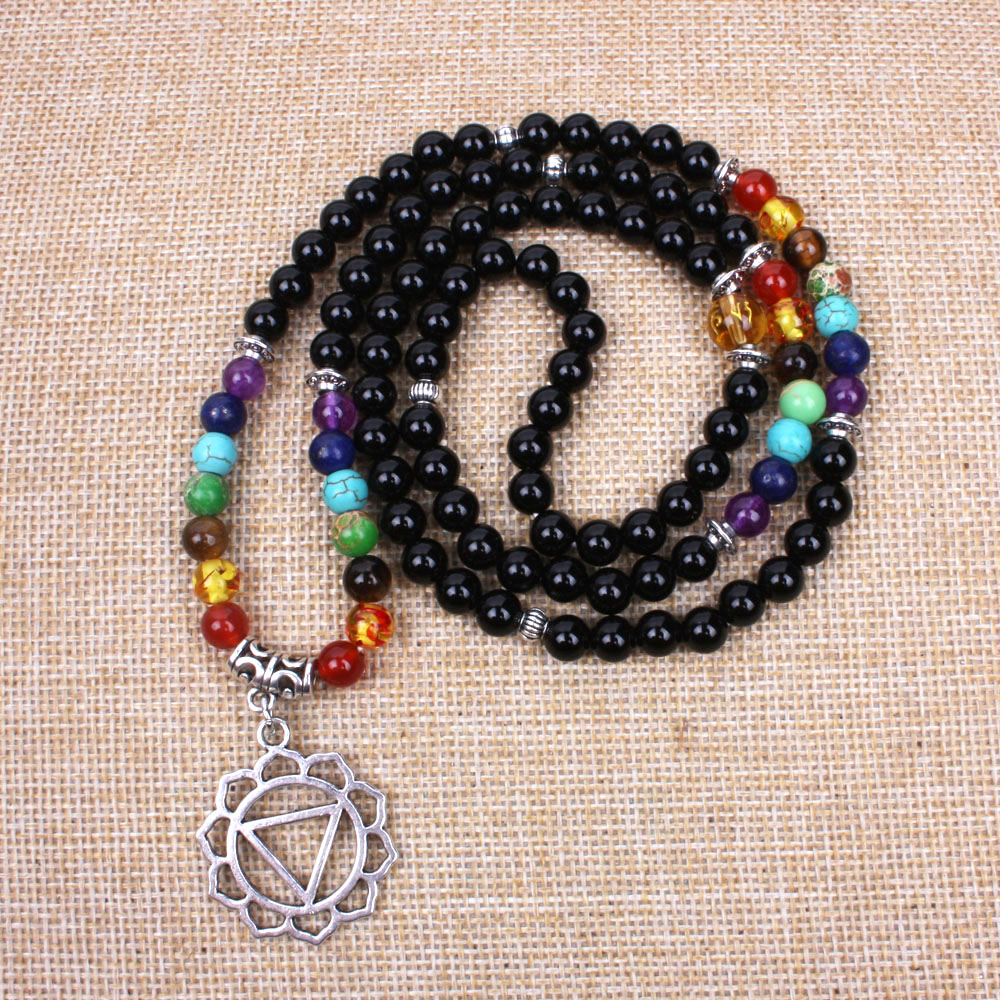 New 7 chakra wrist mala women 108 mala stone beads and Ancient silver stretch bracelet Meditation yoga necklace dropshipping