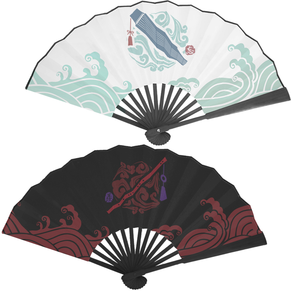 1Pc Anime Mo Dao Zu Shi Ancient Style Folding Fan Wei Wuxian Lan Wangji Silk Fabric Fan Anime Around