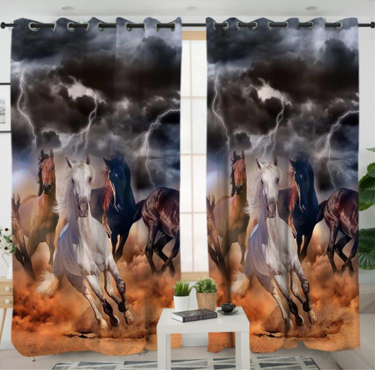 Blackout Curtain Thunder Horse Photo Print Curtains Modern Livingroom Curtains Window Decoration