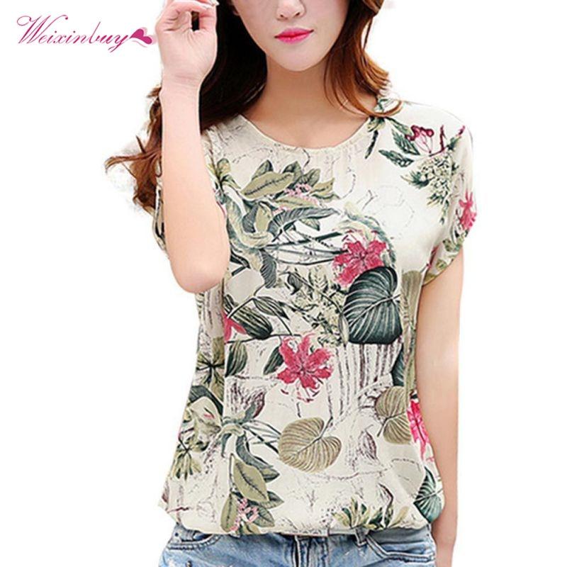 Fashion Women Blouses Floral Print Ladies Shirts Summer Casual Short Sleeve Blouse Tops 2019 New O-neck Shirt Blusas Plus Size