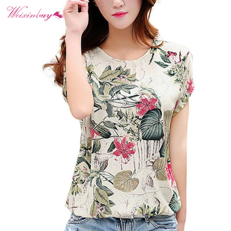 Fashion Women   Blouses   Floral Print Ladies   Shirts   Summer Casual Short Sleeve   Blouse   Tops 2019 New O-neck   Shirt   blusas Plus Size