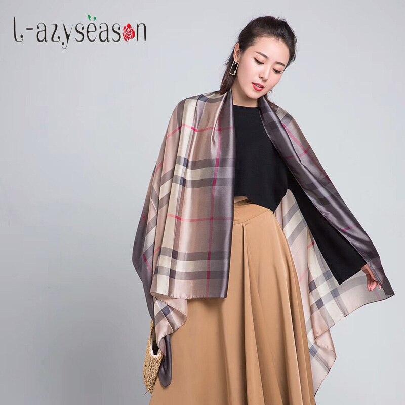 L-azyseason luxury brand Silk Scarf women Plaid All-match bandana women hijab Summer Scarves pashminas for Lady stoles Shawls
