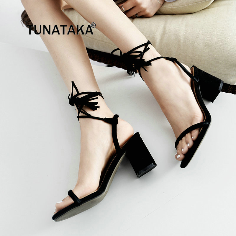 Ladies Suede Comfortable Thick Heel Lace Up With Fringe Gladiator Sandals Fashion Cross Tied Dress Summer Shoes Black Apricot asumer black apricot fashion summer ladies shoes cross tied peep toe high heel sandals shoes elegant wedding shoes thick heel