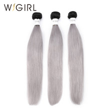 Wigirl Hair Straight 3 Bundles 1B/Grey Ombre Brazilian Remy Human Hair Weave Gray Color Ombre Hair Extensions Free Shipping(China)