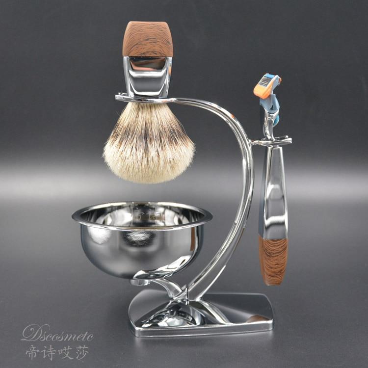 shaving brush set, silvertip badger hair,very good quality bowl,shaving stand,shaving razor
