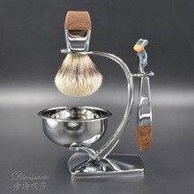 shaving brush est, sliver tip badger hair,very good quality shaving bowl,shaving stand,shaving razor
