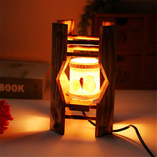 Creative Mediterranean Retro Wooden Lamp Night Light Accessories Birthday Home Decoration Bedroom Living Room