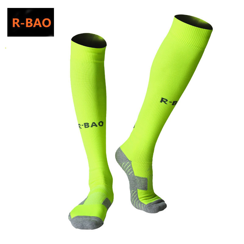 Image 2 - R BAO 1 Pair Cotton Long Soccer Socks Non slip Sport Football Ankle Leg Shin Guard Compression Protector For Men 39 44