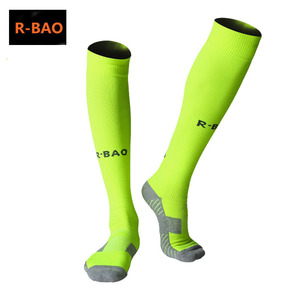 Image 2 - R BAO 1 Pair Cotton Long Soccer Socks Non slip Sport Football Ankle Leg Shin Guard Compression Protector For Men 39 44