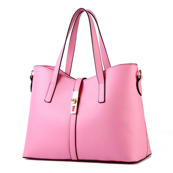 Pink Fashion Cusual PU Women Handbag Office Lady Shoulder Bag Crossbody Messenger Zipper