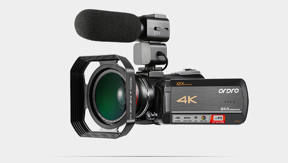 Ordro HDV-AC5 4K Camcorder 12X Optical Zoom 3.1 IPS Touch Screen Ultra HD 1080P 60FPS Digital WiFi Camera 18