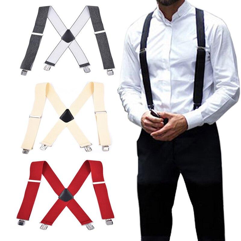 2019 New 50mm Wide Elastic Casual Adjustable Braces Plain Heavy Duty Suspenders For Men Women Unisex Accessories Soild Color